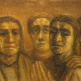 Eglė Velaniškytė. Kristus ir mokiniai II. 2017 m., drobė, aliejus
