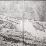 Elena Grudzinskaitė. Dirbtinis landšaftas. Rekonstrukcija II, 2016, sausa adata, popierius, 120x195 cm
