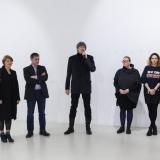 """Iš kairės: menininkė Patricija Gilytė, galerijos """"Meno parkas"""" vadovas Arvydas Žalpys, KKKC direktorius Ignas Kazakevičius, menininkė Agnė Jonkutė, galerijos kuratorė Giedrė Legotaitė, menininkas Povilas Ramanauskas. Nerijaus Jankausko nuotr."""