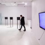 """Tomas Vosylius, """"Mes jau buvome pas jus. Laikas jums mus aplankyti"""" (mišri technika, 2015 m.). Dešinėje – Židrija Janušaitė, performansų videodokumentacija, 2017 m. Nerijaus Jankausko nuotr."""