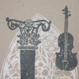 Kristina Norvilaitė. Muzika. 21x23 cm, linoraižinys
