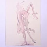 Monika Furmanavičiūtė. Kūno tempimas. 25x20 cm, popierius, akvarelė, pieštukas
