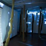 """Sonatos Žiži kūrybos parodos """"Faktūros. Jūra. Krantas. Miškas"""" ekspozicijos fragmentas. Nerijaus Jankausko nuotr."""