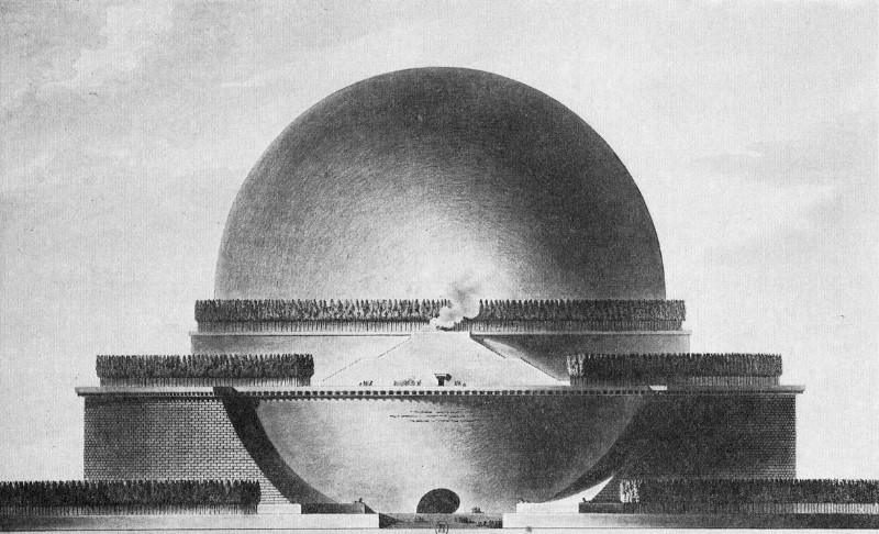 Étienno-Louiso Boullée sukurtas Isaaco Newtono mauzoliejaus projektas. Šaltinis – highlike.org