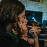 Dr. Vytauto Tumėno paskaitoje. Menininkai Davis Vaivads, Dmitrijus Jefimenka. Evelinos Bernatonytės nuotr.