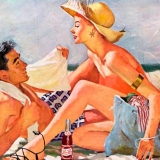 Couple at the beach, Pepsi-Cola advert, 1953.  Rights information. Editorial only  Credit: Land of Lost Content / HIP / TopFoto