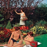 Couple sunbathing in the garden, late 1960s.  Rights information. Editorial only   Credit: Land of Lost Content / HIP / TopFoto
