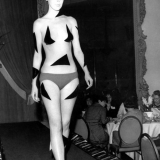 The \'almost not there look\' swimsuit designed by Rudi Gernreich. from the West coast of America. c.1967.He designed the topless bathing suit.