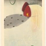 Kyoko Sakamoto. Pieva, vėrinys, šešėlis. 2002, popierius, medžio raižinys, 90 x 55