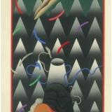 Akira Kurosaki. Mėnulio užtemimas. 1982, popierius, medžio raižinys, 36 x 25