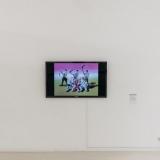 Jono Jurciko kūriniai eksponuojami TV ekrane. Domo Rimeikos nuotr.