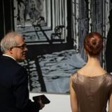 Parodos autorius Pietro Finelli su performanso atlikėja. Ingridos Mockutės-Pocienės nuotr.
