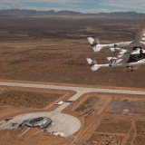 SpaceShipTwo-and WhiteKnight2 at Spaceport America in Upham, New