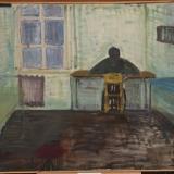 Jūratė Mikailionytė. Sėdinti prie stalo. 1994