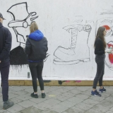 Gatvės meno kūrybinės dirbtuvės su Tadu Vincaičiu-Plūgu. Rūtos Petniūnaitės nuotr.