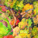 Dalia Čistovaitė. Pasiskraidymas virš rojaus. Laisvas kritimas. 2020 m., 100x120 cm, drobė, aliejus (fragmentas).