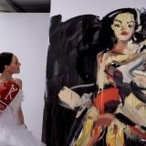 Menininko Virginijaus Viningo tapybos performansas. Nerijaus Jankausko nuotr.