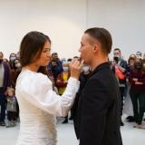 """Laima Kreivytė, Inga Galinytė ir Denisas Kolomyckis, performansas """"Fluqus vedybos. Kentauro gimimas"""". Donato Bielkausko nuotr."""