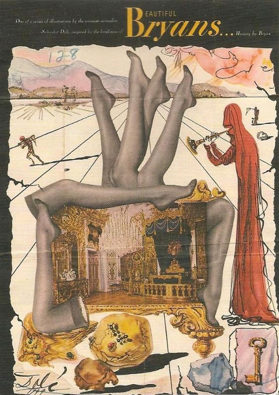 """Moteriškų kojinių """"Bryans"""" reklama. Autorius – Salvadoras Dali."""