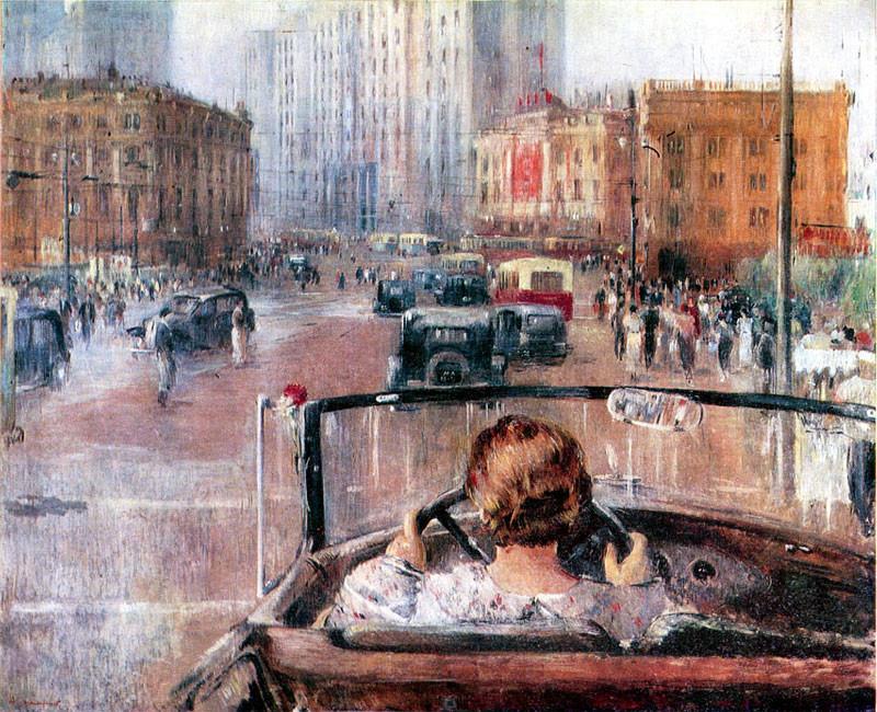 """Jurijaus Pimenovo paveikslas  """"Naujoji Maskva"""" (1937). Stalino naujosios Maskvos gatvėmis skriejantis automobilis simbolizuoja naująja sovietinio socializmo erą."""