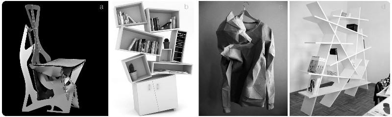3. a. Alexander Gendell, The Leaf chair, 2013. b. Tembolat Gugkeav, Tectonic Bookcase, 2013. c. Linda Kostowski, The T-Shirt, 2013. d. Kitaplik Modelleri, Beyaz modern, 2013.