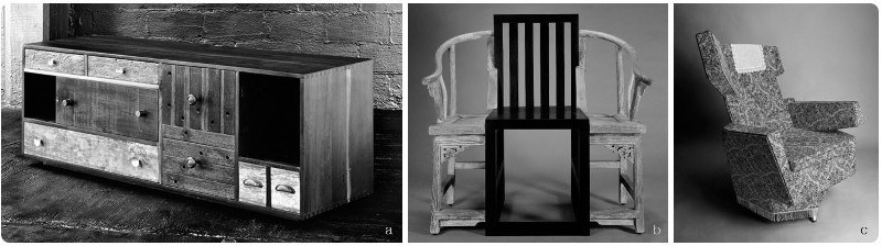 4. a.Thomas Bina, Environment Furniture, 2010. b. Shao Fan, 'Deconstructed' chairs, 2005. c. Hannes Grebin, German parlour/living room, 2009.