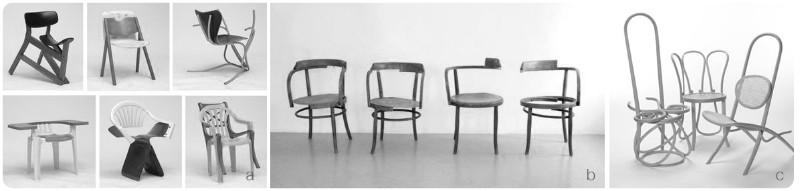 6. a. Martino Gamper's, 100 chairs in 100 days, 2009. b. Eva Chytilek, Der 5. Stuhl, 2012. c. Martino Gamber, 100 chairs in 100 days, 2009.