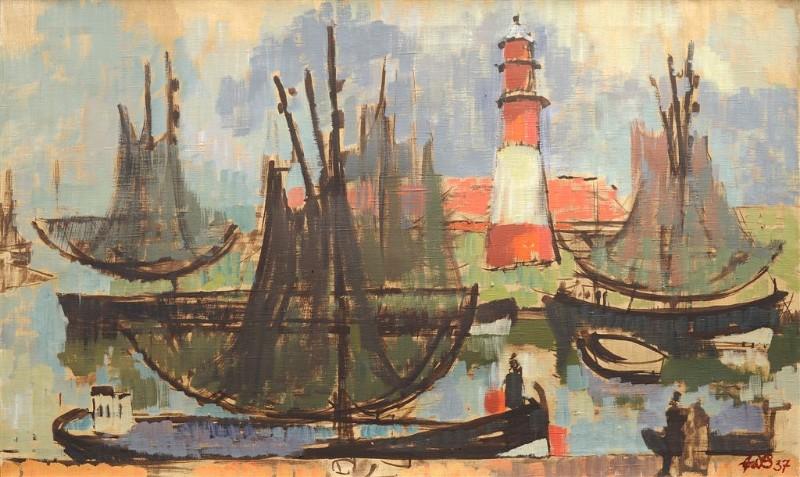 Eduard Bischoff. Žvejų laivai Piliavoje, 1937 m.