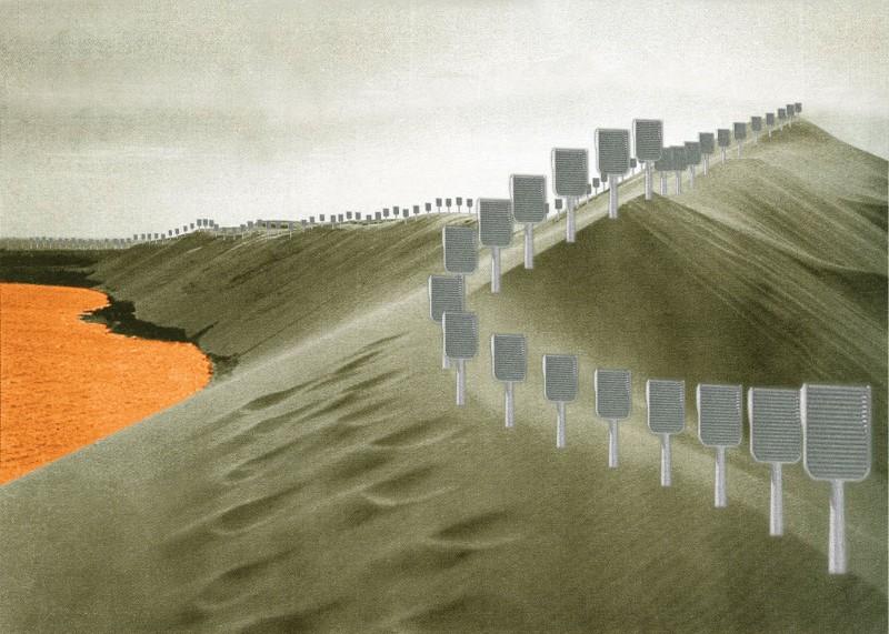 Futuristinis Kuršių Nerijos peizažo pasiūlymas su dirbtiniais medžiais pagal suomių menininkę Hanną Husberg, 2011.