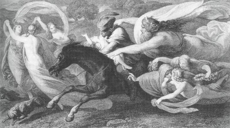 """Bernhard Neher, """"Erlkönig"""" (""""Girių karalius""""). Gėtės """"Girių karalius"""" buvo vienas iš M. Tournier įkvėpusių dalykų. Knygos gale buvo pateikiama ir jo paties darytas poemos vertimas."""