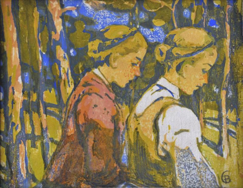 Ernst Bischoff-Culm (1870–1917). Mergaitės. Popierius, spalvotas medžio raižinys, 15x19 A. Popovo rinkinys, Nr. 91
