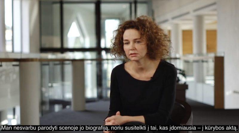 Kadras iš pokalbio su režisiere Agata Duda-Gracz videoįrašo.