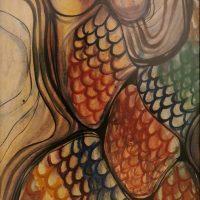 Petras Gintalas. Troškimas pasveikti. Akvarelė, 90x55 cm.