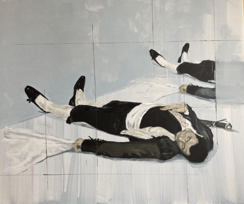 Viktoras Paukštelis. Miegantis matadoras. 2020 m. Aliejus, drobė, 130x164 cm