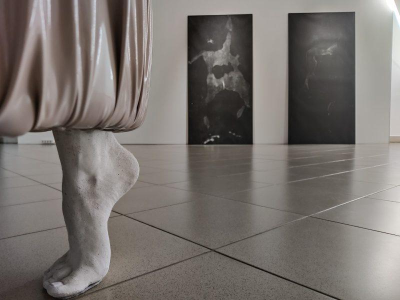 """Živilės Minkutės parodos """"Nertis iš kailio"""" ekspozicijos fragmentas. Nerijaus Jankausko nuotr."""