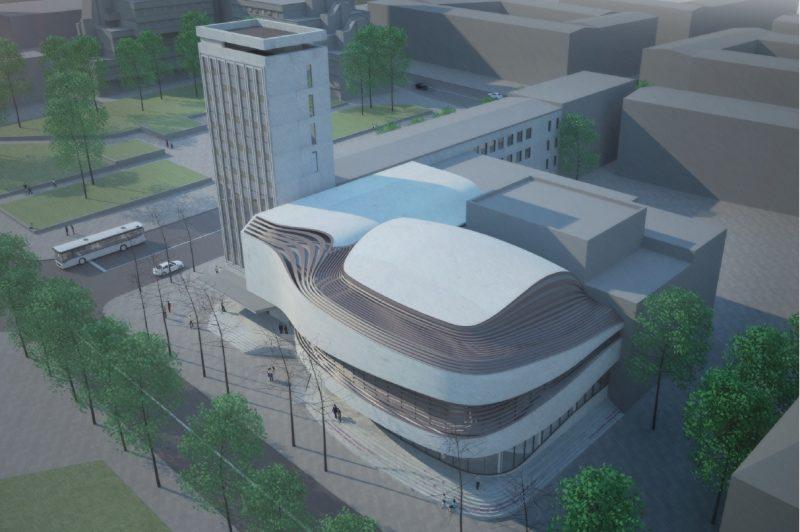 Klaipėdos valstybinio muzikinio teatro pastato projekto vizualizacija
