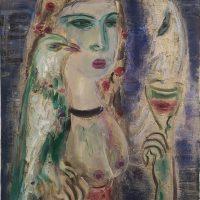 Svajūnas Armonas. Vynas su mėnuliu. 2021 m. Aliejus, drobė, 70 X 50 cm.