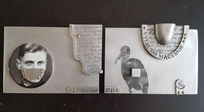 """Romualdas Inčirauskas, """"Vytautui Mačerniui – 100"""", aliuminis, cinkas, bronza, fotokeramika, 20x14x2 cm. Organizatorių archyvo nuotr."""