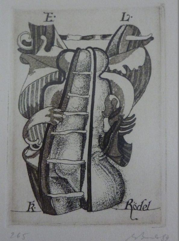 A. V. Burba. K. Rödelio ekslibrisas. 1989. R. Davidavičienės kolekcija