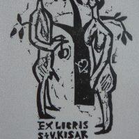 V. Jucys. S. ir V. Kisarauskų ekslibrisas. 1970. R. Davidavičienės kolekcija