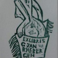 V. Jucys. G. Jan Rhebergen ekslibrisas. 1973. R. Davidavičienės kolekcija