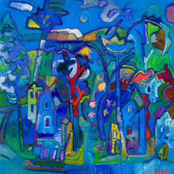 Rimas Bičiūnas. Mėlyna vasara. 2006 m., drobė, aliejus, 93x93 cm