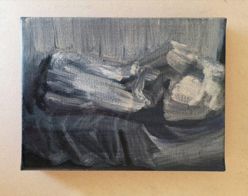"""Saulė Želnytė. Fragmentas iš tapybos ir videoinstaliacijos """"#24kadrai #nemiga""""."""